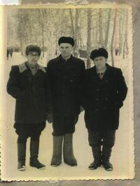 Fr. Pavlo Wasylyk, deacon Stepan Mamchur and unknown person. Mordovia, 1963.