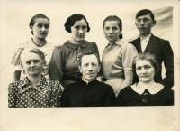 Family members of Mrs. Maria Mykytka. Stand from right to left: brother Stepan, Mrs. Maria, sister Halya and her friend. Sit: mother Olha, dad Fr. Antin Fedoriak, aunt. village Liskovate, 1937.