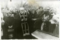 Funeral of Fr. Markiyan Mykytka, led by a secret ungergound bishop Josafat Fedoryk OSBM, alongside with the family members. Stryi, Lviv region, 1972.