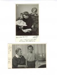 Kamil Černý v roce 1950 a 1956 s matkou a babičkou