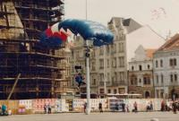 Jump of paratroopers to the Square of the Republic in Pilsen, 1994