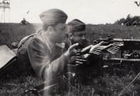 Witness with the machine-gun TK vz. 37 in military training area Malacky, 1952
