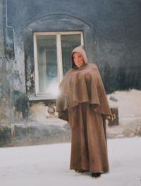 G.Szász jako žebravý mnich ve filmu Johanka z Arku z Kanadské produkce r.1997 (Loket, Cheb)