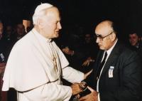 1989, audience u papeže, při svatořečení Anežky České v Římě
