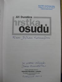 Title page of the book 'Hrstka osudů' by Jiří Dunděra