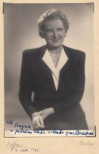"Hana Benešová with personal dedication to ""Dear Fanynka..."" in other words to Františka, September 1949"