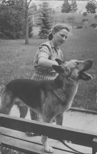 With Mr. and Mrs. Beneše´s dog Bojek, Sezimovo Ústí 1948