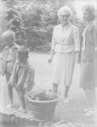 With her sons visiting Hana Benešová in Sezimovo Ústí, on 8.8.1963