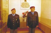 Josef Bartošek as a honor guard at a commemorative plaque in Fatebenefratelli hospital in Vizovice