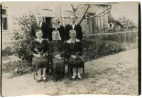 Part of the Andrš's family. Seated from the left side: sister E. Perglerová (nee Andršová), mother Lidmila, sister K. Jelínková (nee Andršová). Standing from the left side: siblings Josef, Marie a Vladimír. 1947, postwar famine, Ukraine