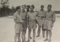 In Bahamas, Jiří Pavel Kafka in the middle with a box