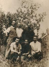26th June 1940, Donskoj zernosovchoz, Bohumír Hájek, Villi Klein and Jiří Mráček are in the front row (from left), the man with glasses is Karel Schretter.