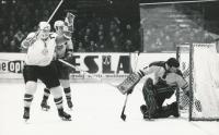 Utkání Dukla vs. Jihlava, 9:1, v bráně Jan Suchý, 1967/68