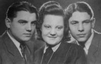 from the left: brother Pavel, sister Marie, and František Žebrák in 1947