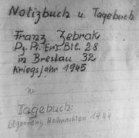 František Žebrák's notebook where he was recording his experiences from WWII while he was in POW camps