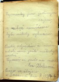 Stránka z památníku od Evy Abelesové, která se nevrátila