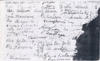 Školní fotografie, zadní strana s podpisy spolužáků