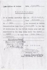 Potvrzení z tábora Dachau