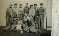 Colleagues from Valc's cement works (1943) - Vladimír kneeling