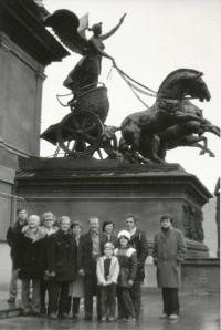 Vladimír on the roof of the National Theatre (1983) - second from the right