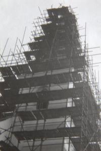 oprava věže kostela v Liticích 1984