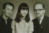 With wife and daughter (1972)