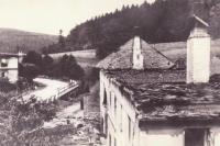 Mrňka family house after burning Javoříčko, who stood next to school