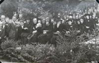 National Pilgrimage in Javoříčko September 23, 1945 which was attended by some 25,000 visitors (pictured survivors)