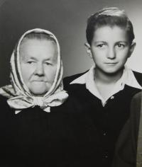 Milan Vlcek with his grandmother Mary Spivokovou in which he lived during his incarceration mother during the war