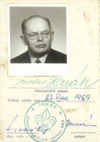 The Scout card of Jaroslav Harák after the restoration of the Scout movement in year 1968