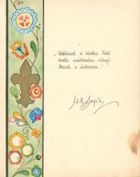 The page with A.B.Svojsík´s autograph from the Scout chronicle of Jaroslav Harák