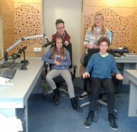 Students from the project Stories of our neighbours during the radio reportage about Fedor Gál