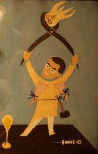A Caricature of Hugo Engelhart Made by a Fellow Prisoner