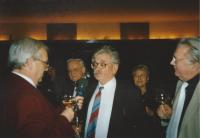 With Ludvík Vaculík during the New Year's Eve live broadcast of Dobré ráno (1995);  in the middle head of the Academy of Sciences Rudolf Zahradník, Mrs. Marie Vaculíková and reporter Kamil Horák who has worked in the radio for many years