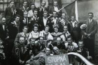 Poválečné oslavy, počeštěná kapela (jejími členy byli dříve především Němci), 19. srpna 1945, Stupná u Křemže