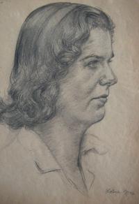 Hlava I., jedna z kreseb, které Josef kreslil během přijímacího řízení na akademii; 1952, Praha