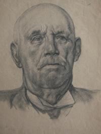 Hlava II., jedna z kreseb, které Josef kreslil během přijímacího řízení na  akademii; 1952, Praha