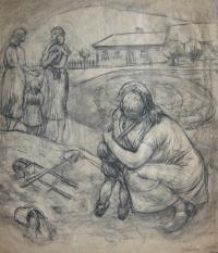 Kompozice podle fantazie - jedna z kreseb, které Josef kreslil během přijímacího řízení na akademii; 1952, Praha