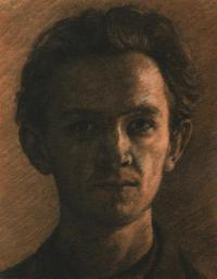 Autoportrét, 1954, 32 x 25 cm, kresba uhlem, malováno v Josefově studentském, špatně osvětleném bytě v ul. Karoliny Světlé; návrh pro olej (který byl doplněn zobrazením malířovy ruky)