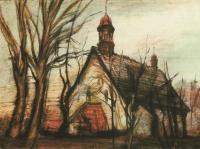 Předjaří (kostel v Nové Roli), litografie, 30 x 22 cm, 1981