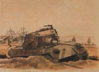 Konec války v rodné obci, 1945, 25 x 30 cm, akvarel