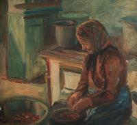 Má matka (při práci), 1959, 111 x 94 cm, olej