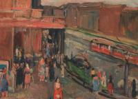 U divadla, 1960, olej, 36 x 26 cm; výhled z okna v tehdejším hotelu Terminus na Smetanovo divadlo (dnešní Státní opera Praha), tehdejší ul. Vítězného února, Praha