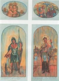 Návrhy na freskové malby pro kapli na návsi v Brloze (realizace v roce 1997)