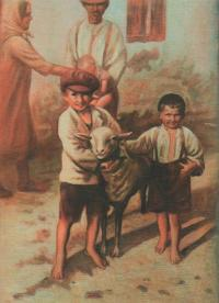 Vzpomínka na dětství (2005), malba podle fotografie z roku 1931, Josef Hošna vpravo, Josefův bratr Jan vlevo, uprostřed ochočená ovce - člen rodiny, Brloh; tento obraz Hošna namaloval na výstavu ve Vodňanech