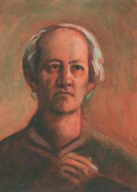 Autoportrét (retrospektivní), olej, 1996, 44 x 33 cm