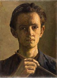 Autoportrét, olej, 1954, 44 x 33 cm; malován na akademii pod vedením prof. Nechleby (i prof. Nechleba namaloval takový autoportrét)