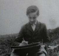 Josef při hodině kreslení s učitelem Šváchou, 1941, nad Brlohem