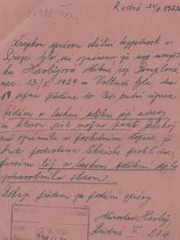 Povolení k napsání dopisu manželovi, 1953