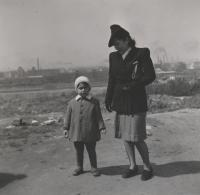 c. 1942, Prague, the witness with the family maidservant Marie